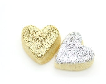 Handmade Scottish Mini Love Heart Gold & Silver Metallic Glitter Shortbread Cookie Wedding Favor Favour Gluten Free Mothers Day Gift