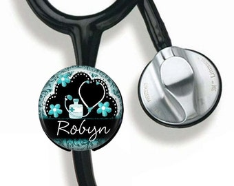 Personalized Gift for Nurse, Registered Nurse, RN, LVN, Stethoscope Button, Nursing Student, Stethoscope ID tag, Nurse Graduation Gift