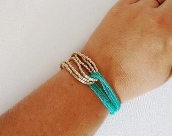 Turquoise bracelet, turquoise and gold bracelet, seed bead bracelet, aqua bracelet, gold bracelet, teal bracelet, beaded bracelet,turquoise
