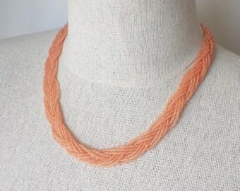 Peach braided necklace,light orange necklace,seed bead necklace,bridesmaid necklace,salmon,bridesmaid jewelry,wedding ,bridesmaid gift