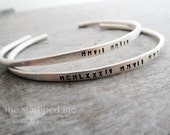 Personalized Sterling Silver Cuff Bracelet, Hand Stamped, Personalized Bracelet Bangle