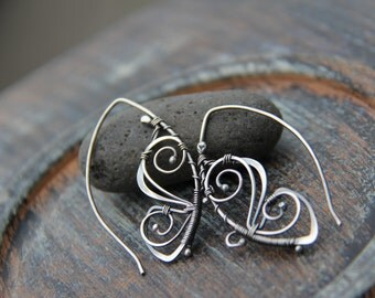 "Sterling silver wire wrap threader earrings ""Fly away"", wire wrap antique silver earrings, butterfly earrings, metal work, nature, filigree"