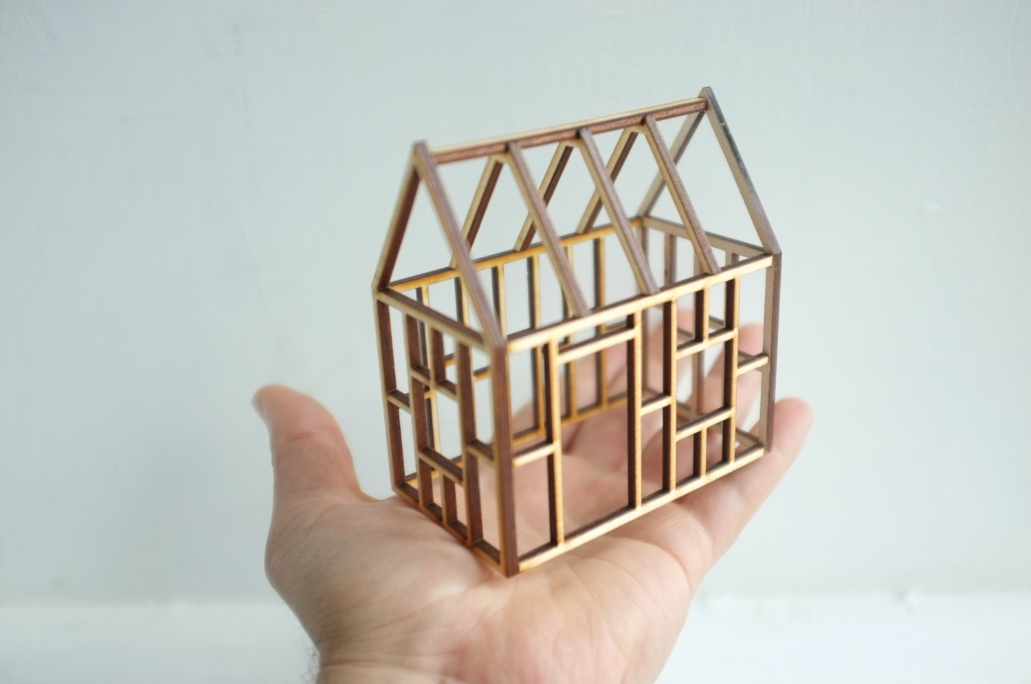 Small Geometric Bamboo House Framework 3d Architectural Line