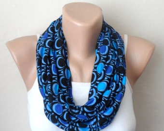 royal blue infinity scarf  black blue combed cotton loop scarf woman scarf fashion accessories birthday gift for her