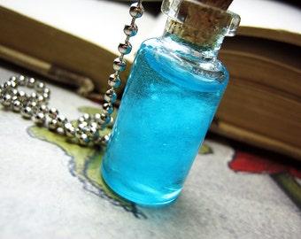 Clouds in a Bottle Necklace Charm - Cloud Sky Cork Vial Pendant - Kawaii Sparkle