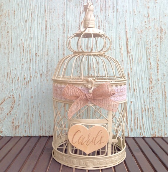 Ready to Ship, Lace Wedding Bird Cage, Card Holder, Shabby Chic // BC00