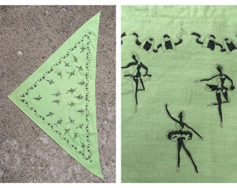 Vintage Ballet Dancer Bandana Handkerchief Head Scarf Dancing Accessories Pastel Lime Mint Green Dance Drama Masks Comedy Tragedy Theatre