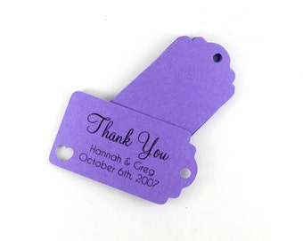 Small Purple Wedding Favor Tags Set of 20, Personalized Bridal Shower Gift Tags, Plum Favor Tags, Royal Purple Wedding Tags, Shower Favors