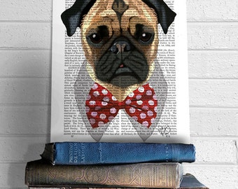 Pug Dog with Bow Tie, Pug print, dog poster dog wall decor dog illustration dog picture dog gift for dog lover dog Print dog art, puggle art