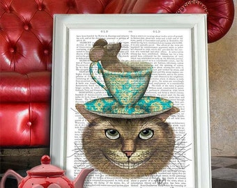 Alice in Wonderland Art, Cheshire Cat Teacup on Head - Cheshire cat alice in wonderland print Mad hatter tea party decoration alice dormouse