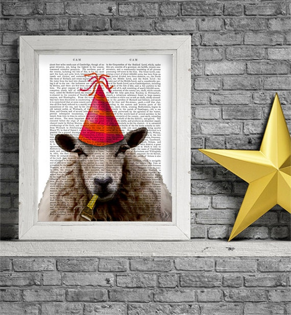 Party Sheep Art Print Art Giclee Print Acrylic Painting Illustration Sheep Picture party animal wall art wall decor Wall Hanging