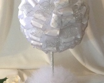 White and Silver Wedding Topiary - Wedding Shower Centerpiece  - Party Decoration - Wedding Decoration - Wedding Table Centerpiece