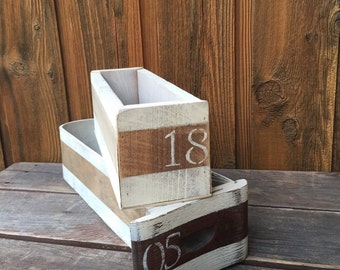 Vintage Painted Sewing Desk Drawer / Sewing Drawer / Rustic Box / Box with Stripes / Box with Numbers / Boxes to Organize / Set of Two