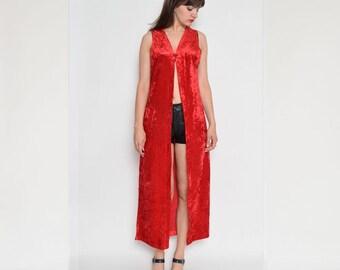 Vintage 90's Red Velvet Maxi Vest