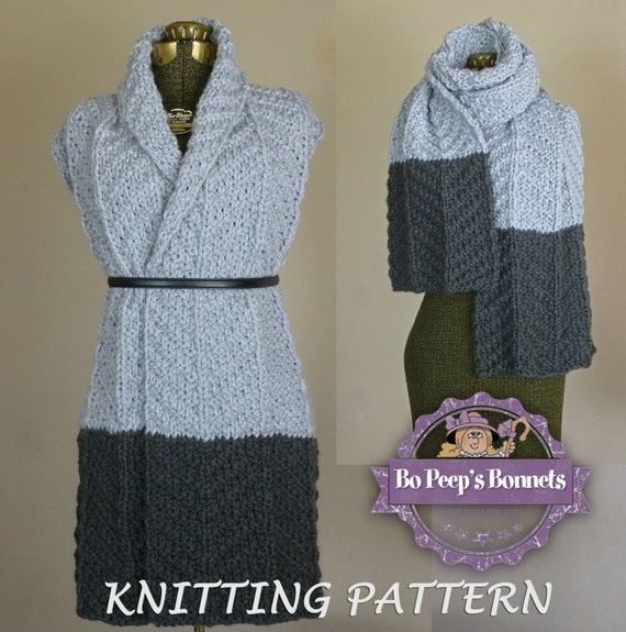Knitting Pattern For A Long Scarf : Knit Scarf Pattern Color Block Scarf KNITTING PATTERN