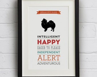 German Spitz (Klein) Dog Breed Traits Print - Great Gift for German Spitz Lovers!