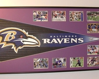Custom Framed Baltimore Ravens Pennant with football cards