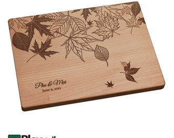 Personalized Gift, Engraved Cutting Board w/ Leaf Design, Wedding Gift,Custom Cutting Board, Wedding Gifts, Engagement Gift, Autumn, Fall