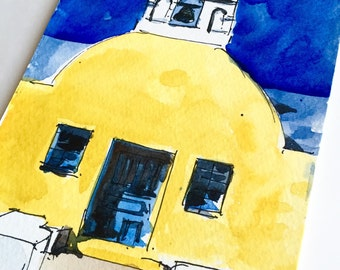 "Santorini, Santorini painting, santorini greece, Santorini Chapel, Greece Watetcolor Sketch, Watercolors Paintings Original, sketch, 5""x8.5"""
