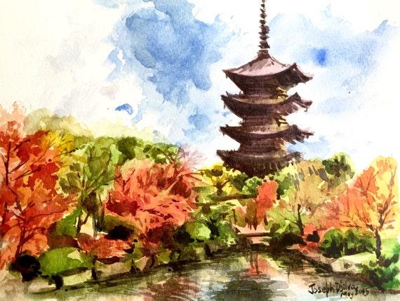 Kyoto japan watercolor painting japanese temple watercolor for Japanese watercolor paintings