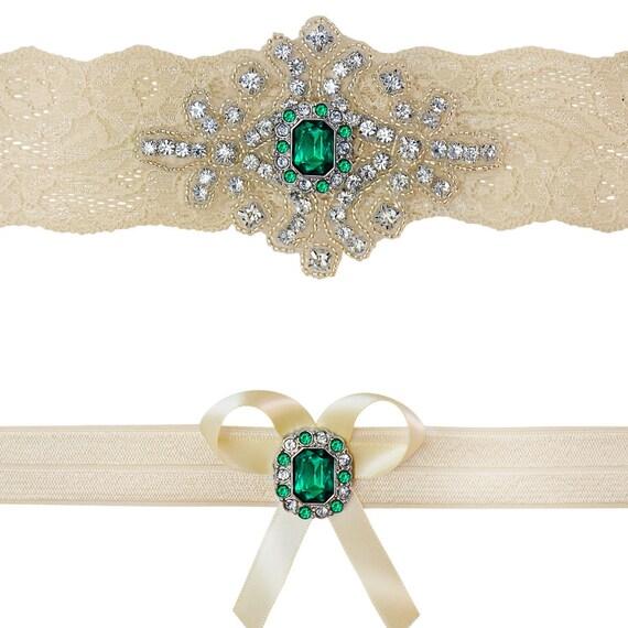 Beach Wedding Garter: Emerald Green Ivory White Lace Bridal Garter By