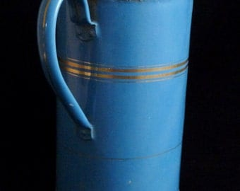 Blue Enamelware Irrigator, Vintage French Enamel Irrigator, Rare Colour