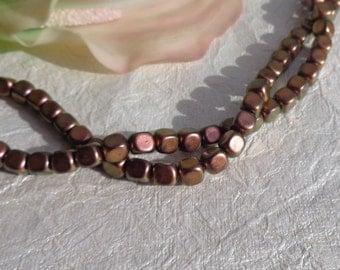 7x6 Metallic Copper Cube Beads