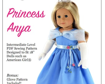 Pixie Faire Love U Bunches Princess Anya Doll Clothes Pattern for 18 inch AG Dolls - PDF