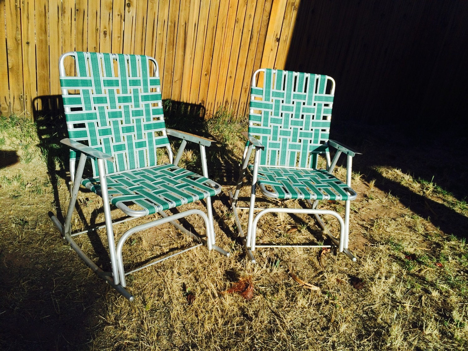 Vintage folding lawn chairs aluminum Retro Green Rocking