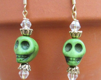 Green Sugar Skull Earrings