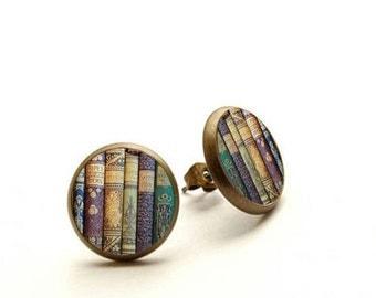 Shabby Books Earrings, book stud earrings, library earrings, teacher's gift,  Hypoallergenic Earrings