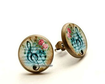 Music & Roses Earrings, music stud, musician gift, music earrings, music jewelry, Hypoallergenic Earrings for Sensitive Ears