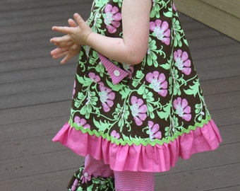 Pink and Brown Floral A-Line toddler dress.  Available in sizes 12 mon, thru 4T.