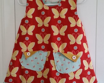 Yellow Butterfly on Red A-Line Dress