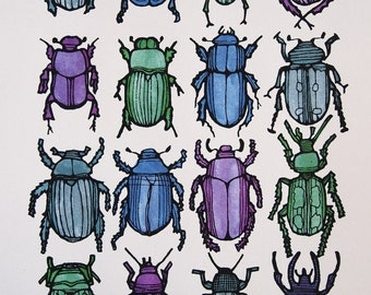 Bugs & Beetles - Screenprint.