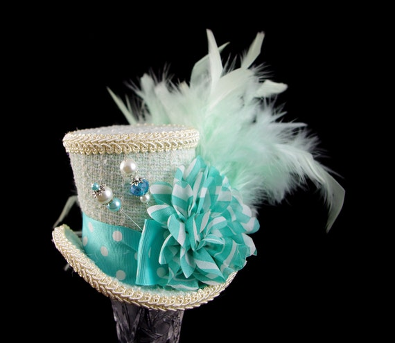 Mint and Teal Polka Dot and Striped Flower Mad Hatter Medium Mini Top Hat Fascinator, Alice in Wonderland, Tea Party, Derby Hat