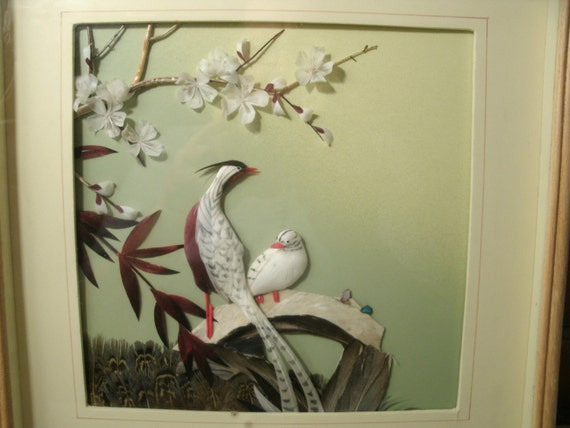 Items similar to 3D Feather Art Shadowbox Picture Vintage ...