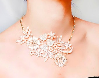 SALE gold pink lace necklace - pink floral bib necklace // statement necklace // boho / chic / gift for her