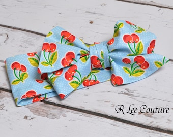 Blue Cherry Delight Stripe Headwrap - Bow Headwrap - Cherry Head Wrap - Baby Headwrap