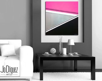 """Original geometric painting. 24x24"""" Modern wall art. Pink painting with silver and black. Abstract canvas art."""