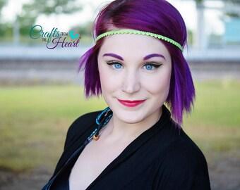Lime Green Headband - Boho Headband - Bohemian Headband - Forehead Headband - Halo Headband - Adult Boho Headband - Hippie Headband - Green