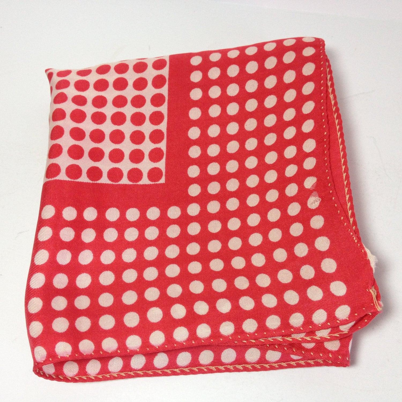 Vintage Glentex Red Amp White Polka Dot Silk Scarf