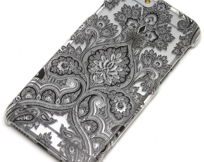 Featured listing image: Black Paisley Damask Floral Mandala Henna Phone Case iPhone 6, 7, SE, 6 Plus, 7 Plus, 6S, 5, 5C, 5S, Galaxy S6, S7, Note 5, Note 7