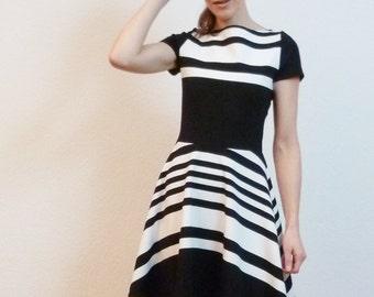 Black and white Backdoor Jersey dress handmade