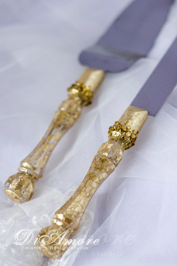 gold wedding cake knife gold wedding cake server and knife handmade cake server set 14814