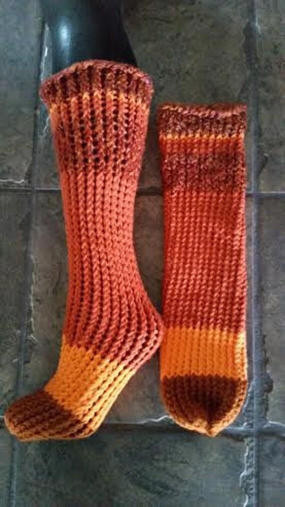 Knitting Pattern For Diabetic Socks : Hand knitted fashionable diabetic socks striped orange
