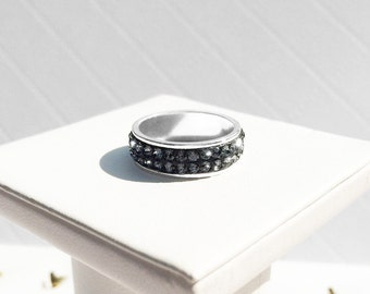 Sterling Silver Swarovski Crystal Channel Ring