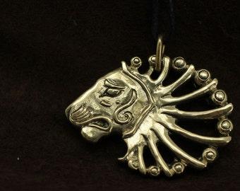 Lion head bronze pendant necklace