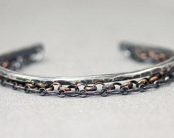Mixed Metals Chain Cuff Bracelet