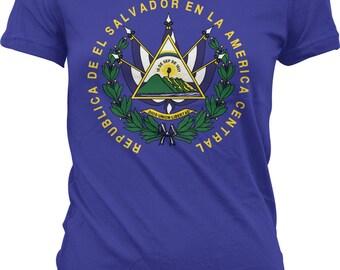 El Salvador Coat of Arms Ladies T-shirt, Coat of arms of El Salvador, El Salvador Flag, Junior and Women's El Salvador T-shirts GH_00147